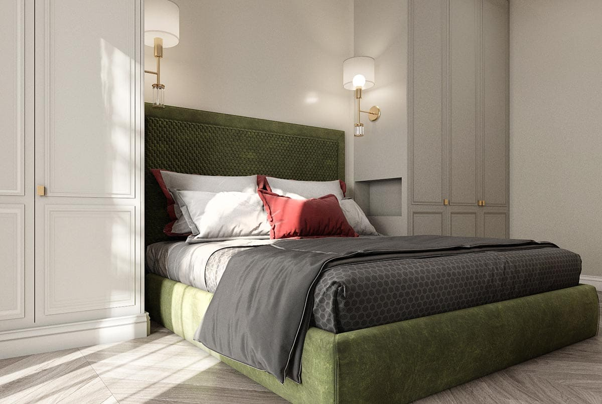 For the customer from Grozny we prepared an eclectic bedroom design.